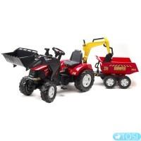 Трактор Педальный с Прицепом и двумя Ковшами Case Puma Falk