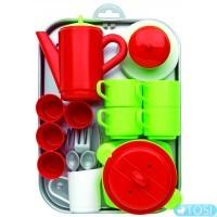 Игровой набор Ecoiffier Chef-Cook с посудой и подносом, 32 аксес.