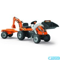 Трактор с ковшами и прицепом Builder Max Smoby 710110