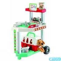 Ветеринарная клиника с тележкой и переноской для щенка Ecoiffier