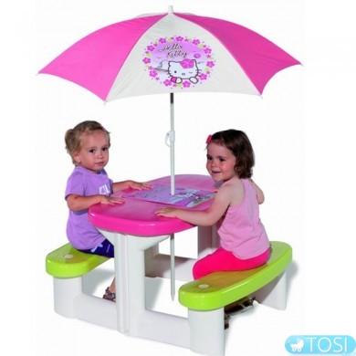 Детский Столик для Пикника с Зонтиком Hello Kitty Smoby (310256)