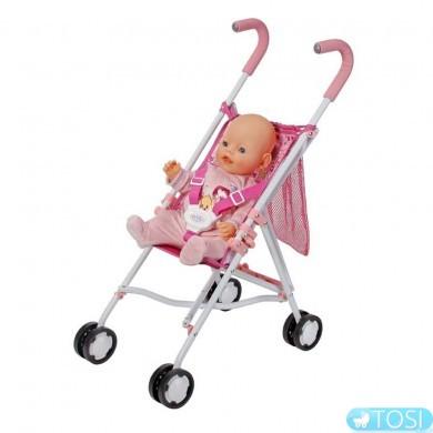 Коляска трость прогулочная для куклы с сумкой в сеточку Baby Born Zapf Creation
