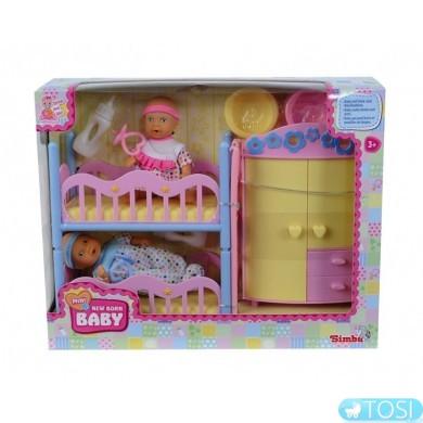 Кукольный набор Simba NBB, два пупсы и спальная комната