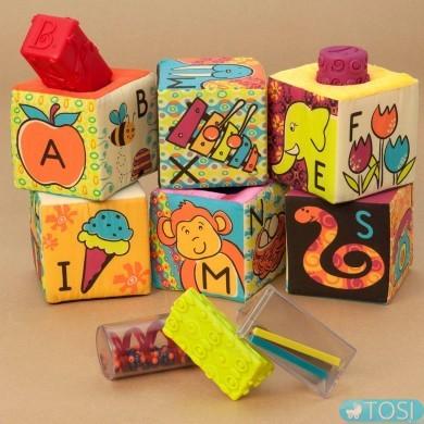 Развивающие мягкие кубики-сортеры Battat ABC