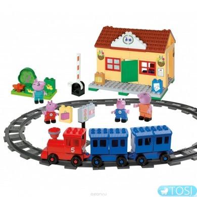 Конструктор Big Peppa Pig Железнодорожная станция 57079