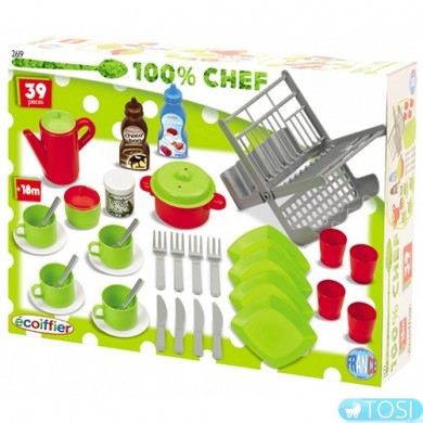 Набор посуды Ecoiffier Chef-Cook, 39 аксес
