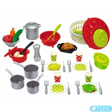 Игровой набор Ecoiffier Chef-Cook, посуда с сушкой для салата, 47 аксес