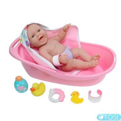 Пупс JC Toys Newborn с ванночкой и аксессуарами, 33 см