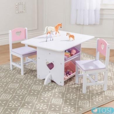Стол и 2 стульчика KidKraft Heart 26913
