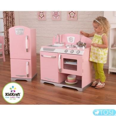 Детская кухня Kidkraft Pink Retro & Refrigerator 53160