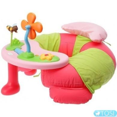 Надувное кресло+столик, интерактивный развивающий комплекс для малышей Smoby Cottons