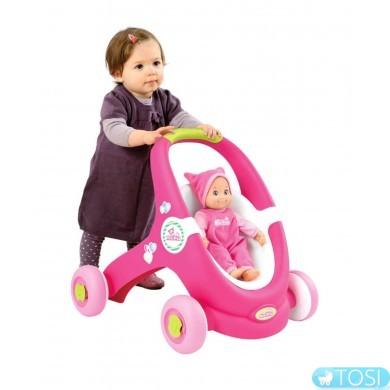 Коляска-ходунки Smoby Mini Kiss Baby Walker 2 в 1 210201