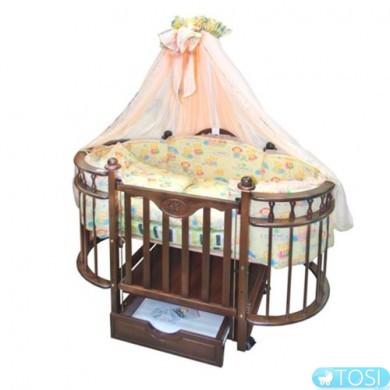 Детская кроватка Веселка Каролина с ящиком светлый орех